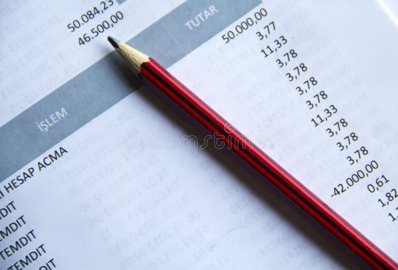 Pen On Invoice royaltyfri bild