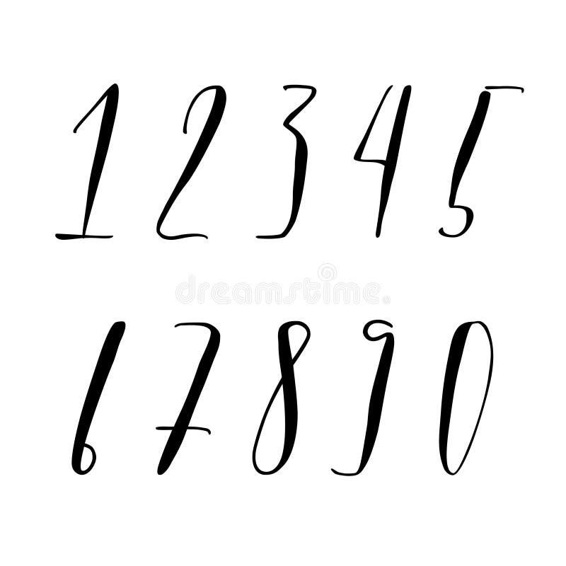 Pen lettering numbers. Modern calligraphy, handwritten letters. Vector illustration stock illustration