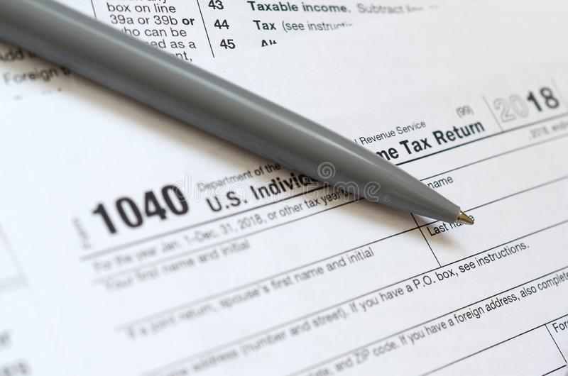 The Pen Lies On The Tax Form 1040 Us Individual Income Tax Ret