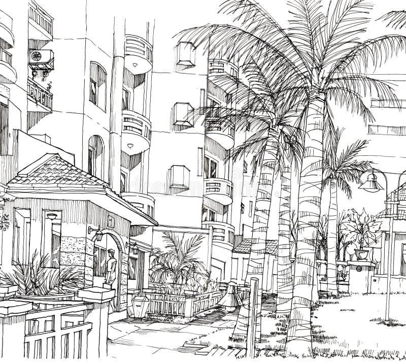 Pen line drawing of architecture condominium. Beautiful pen line drawing of condominium and its landscape vector illustration