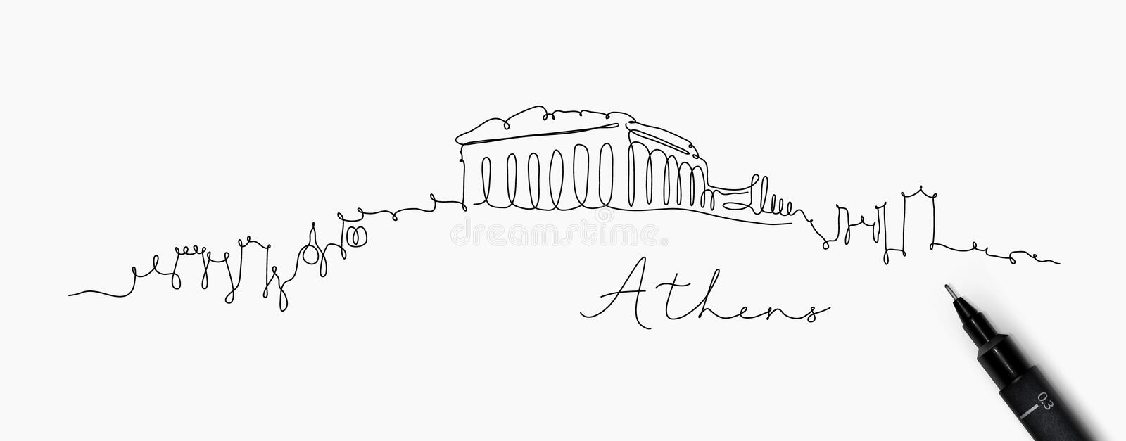 Pen line silhouette athens. City silhouette athens in pen line style drawing with black lines on white background royalty free illustration