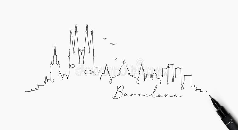 Pen line silhouette barcelona royalty free illustration