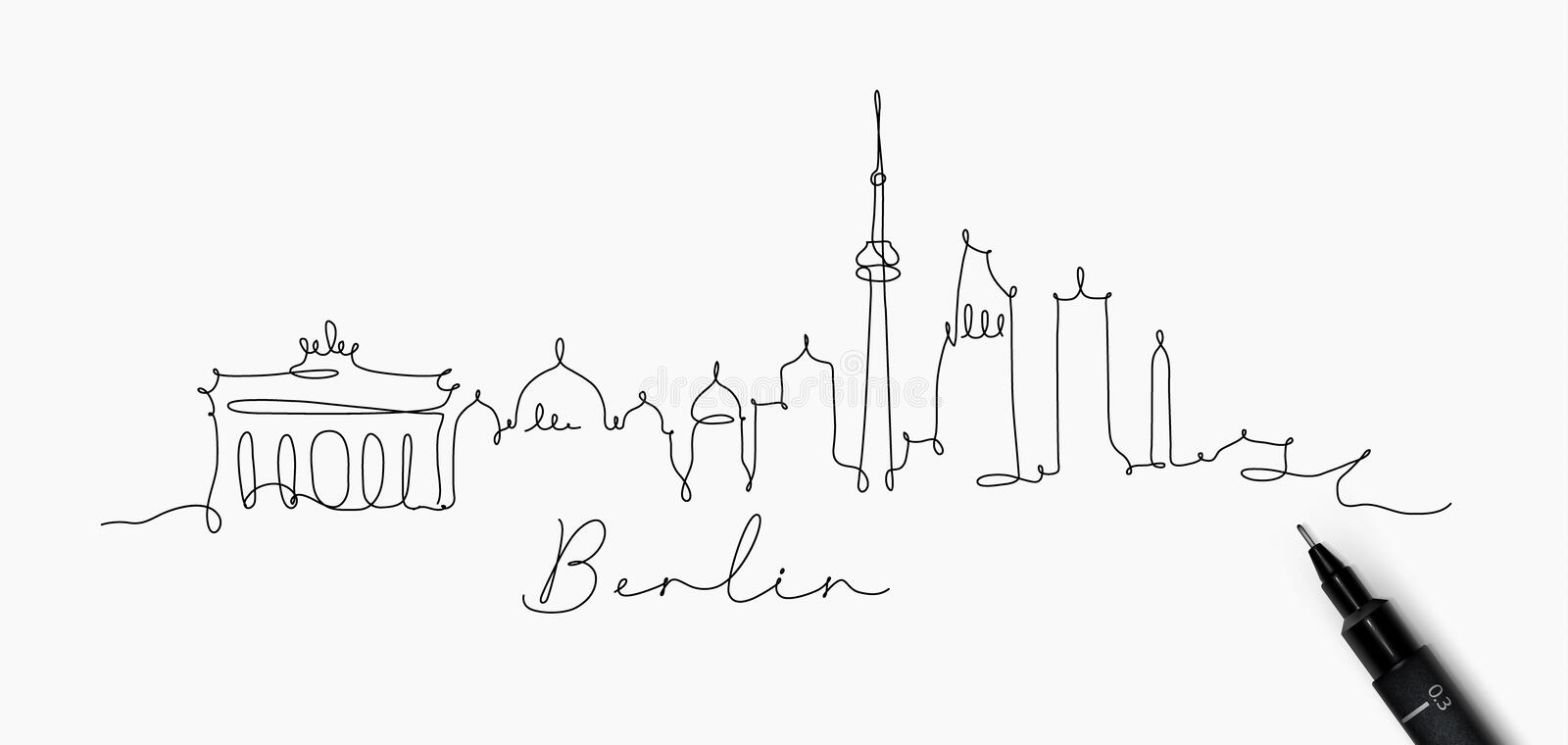 Pen line silhouette berlin. City silhouette berlin in pen line style drawing with black lines on white background vector illustration