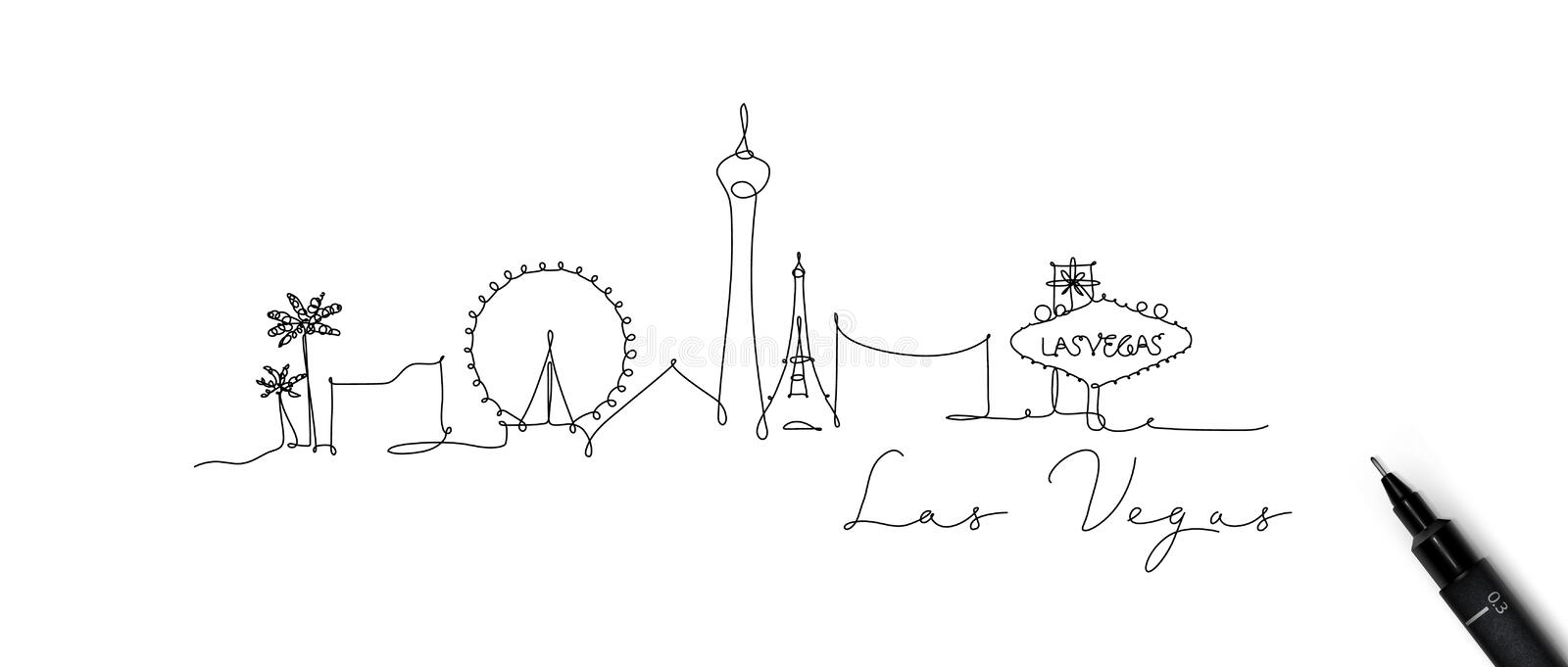 Pen line silhouette las vegas vector illustration