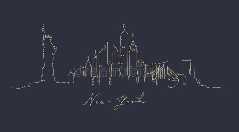 Pen line silhouette new york dark blue vector illustration