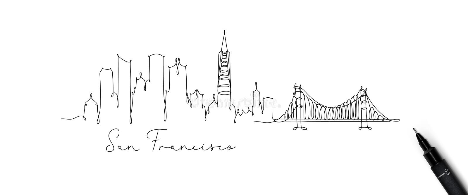 Pen line silhouette san francisco. City silhouette san francisco in pen line style drawing with beige lines on white background royalty free illustration
