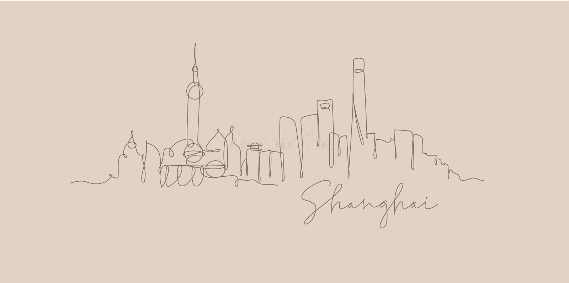 Pen line silhouette Shanghai beige. City silhouette Shanghai in pen line style drawing with brown lines on beige background royalty free illustration