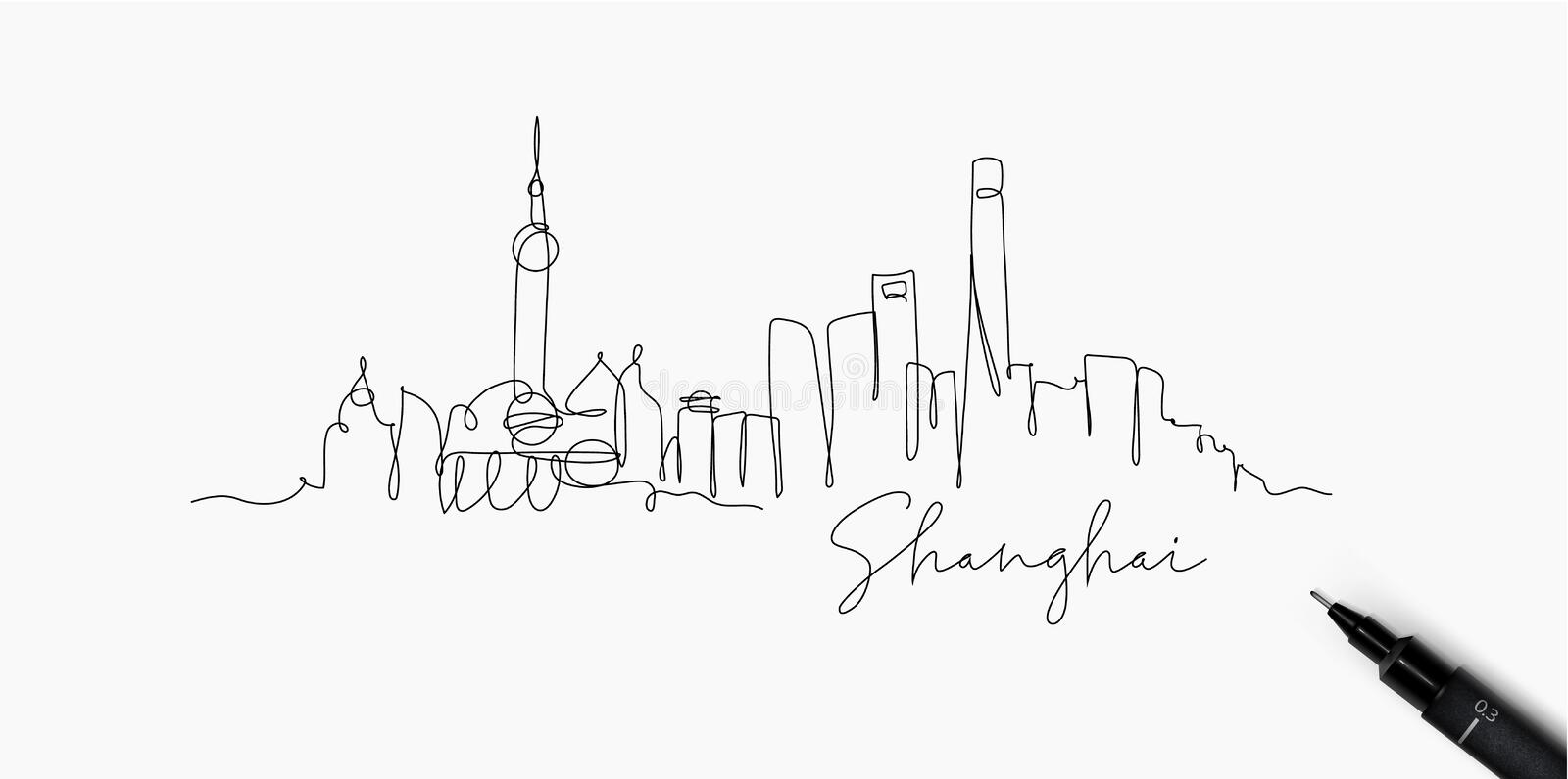 Pen line silhouette Shanghai. City silhouette Shanghai in pen line style drawing with black lines on white background royalty free illustration