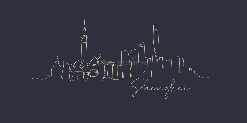 Pen line silhouette Shanghai dark blue. City silhouette Shanghai in pen line style drawing with beige lines on dark blue background vector illustration