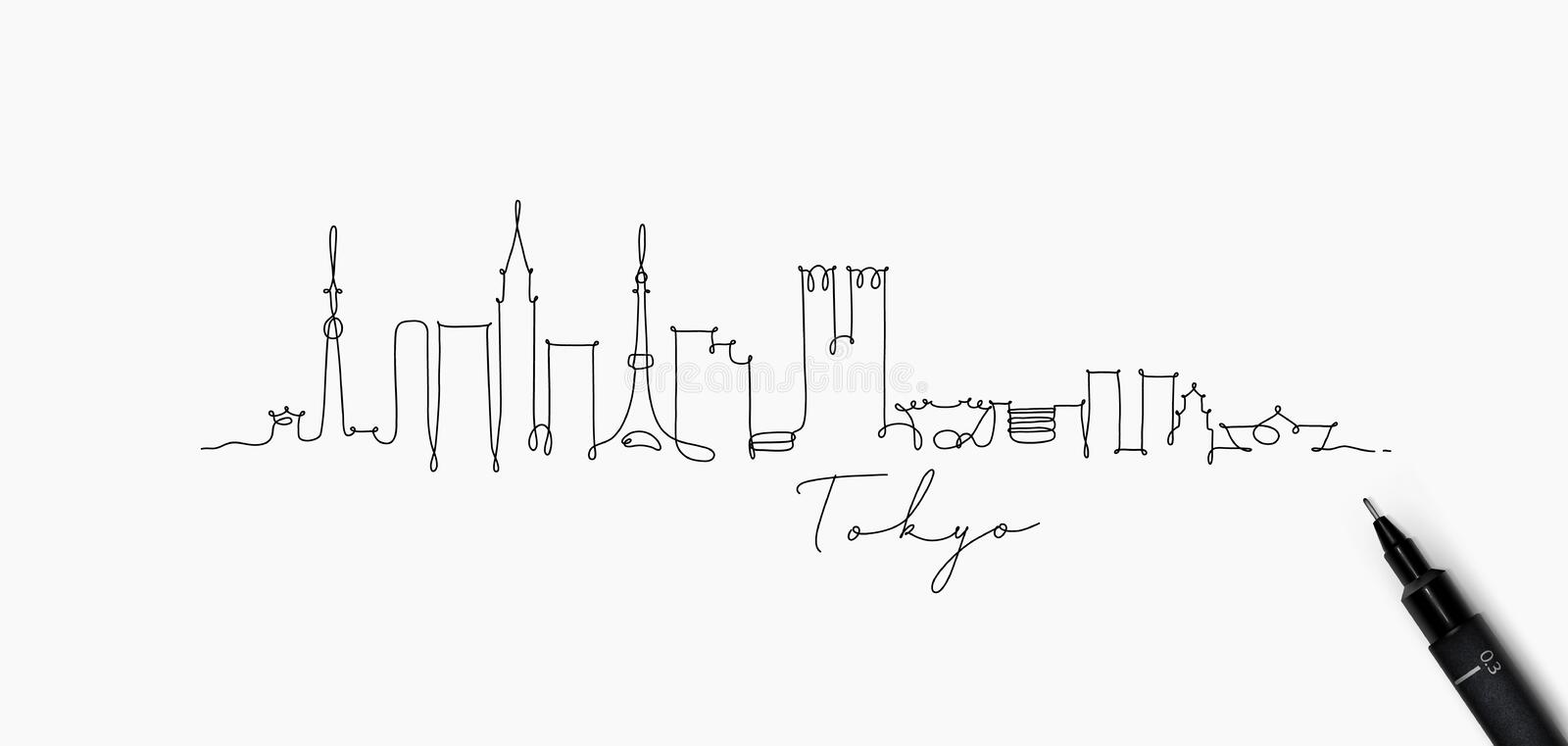 Pen line silhouette tokyo. City silhouette tokyo in pen line style drawing with black lines on white background royalty free illustration