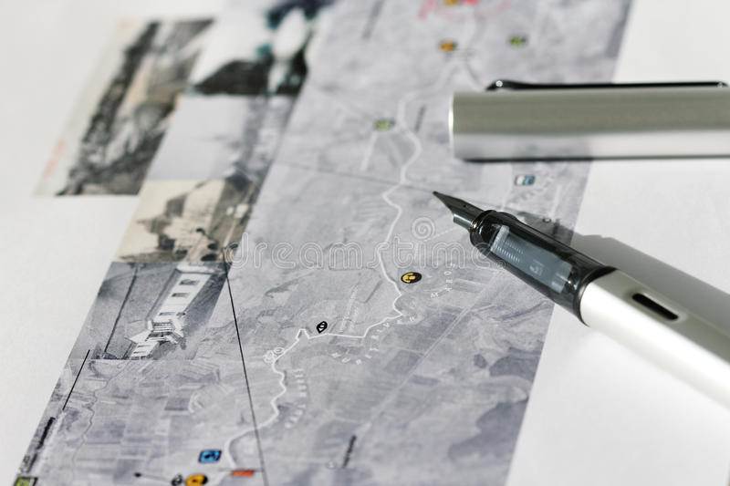 Pen on map stock image
