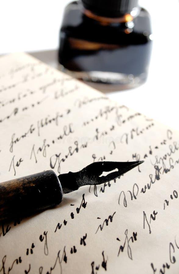 Pen met inkt stock fotografie