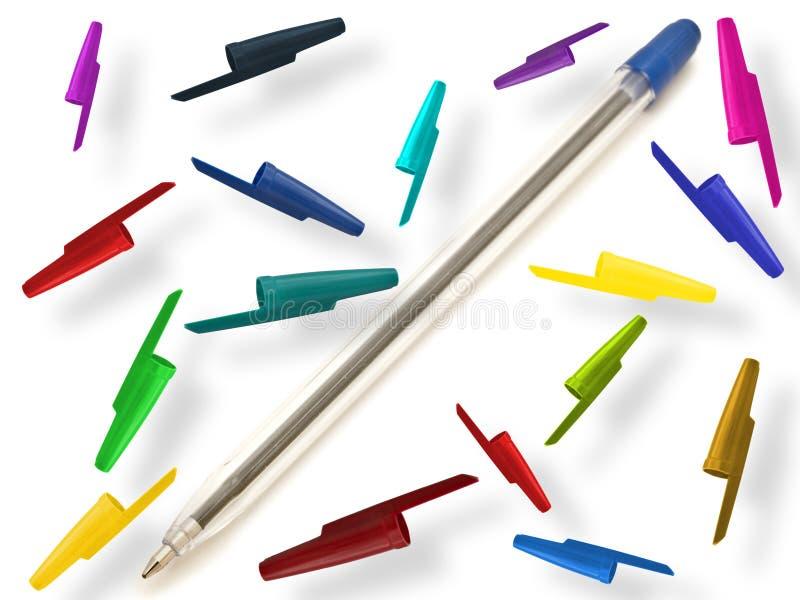 Pen met multicolored kappen stock foto's