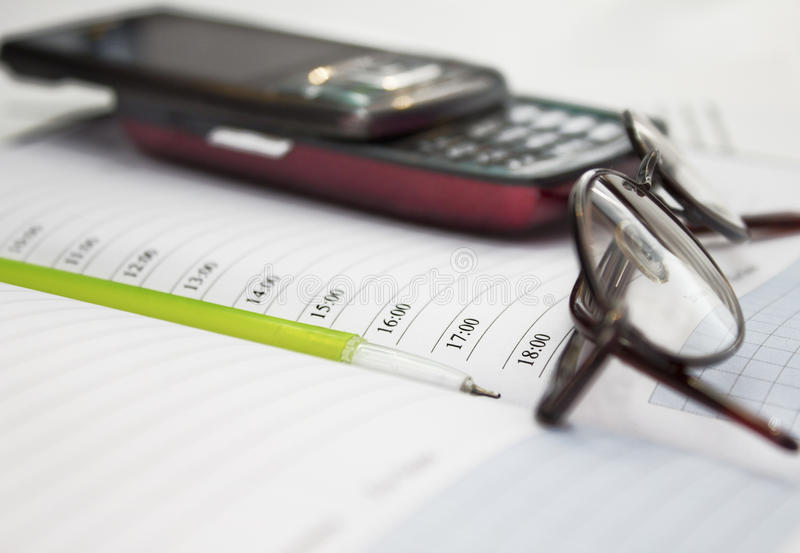 Download Pen, Mobile Phone And Glasses In Composition Stock Photo - Image: 23167828