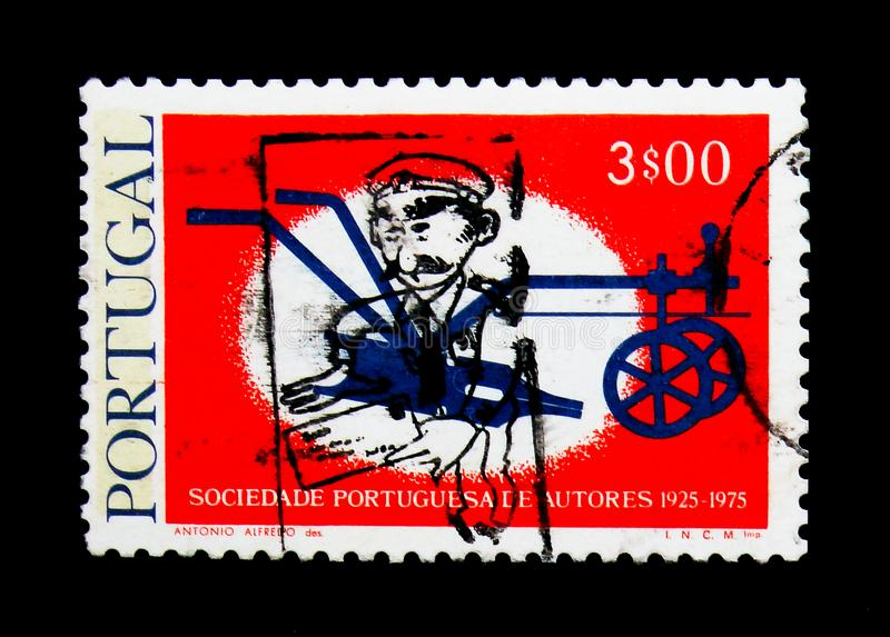 Pen Nib as Plowshare, 50th anniversary, Portuguese Society of Writers serie, circa 1976. MOSCOW, RUSSIA - NOVEMBER 24, 2017: A stamp printed in Portugal shows royalty free stock images