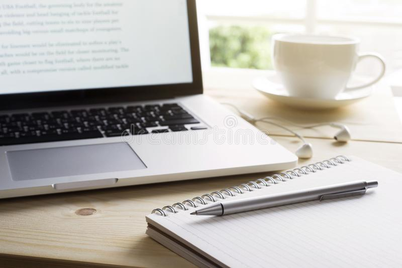 Pen and notebook with laptop.Inspiration moment,workspace royalty free stock photography