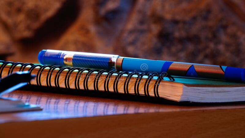 Pen and notebook still life royalty free stock photos