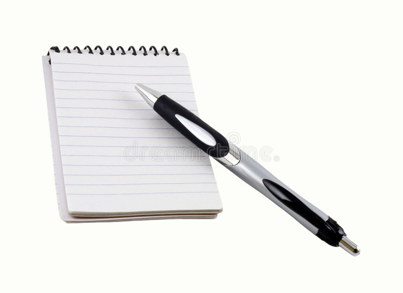 Pen on a spiral notepad stock photography