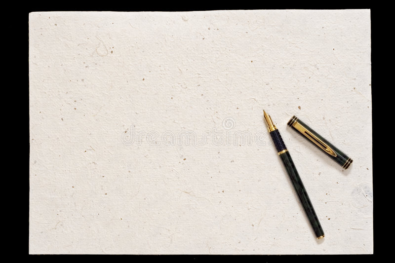 Pen and old paper royalty free stock photo