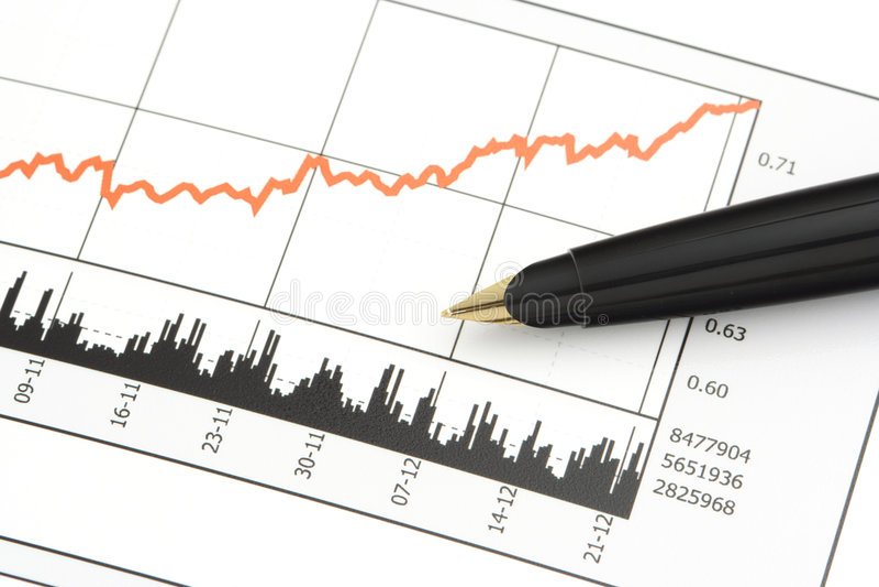 Pen op de Grafiek van de Prijs van de Voorraad stock foto