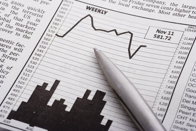 Pen Over Chart royalty free stock image