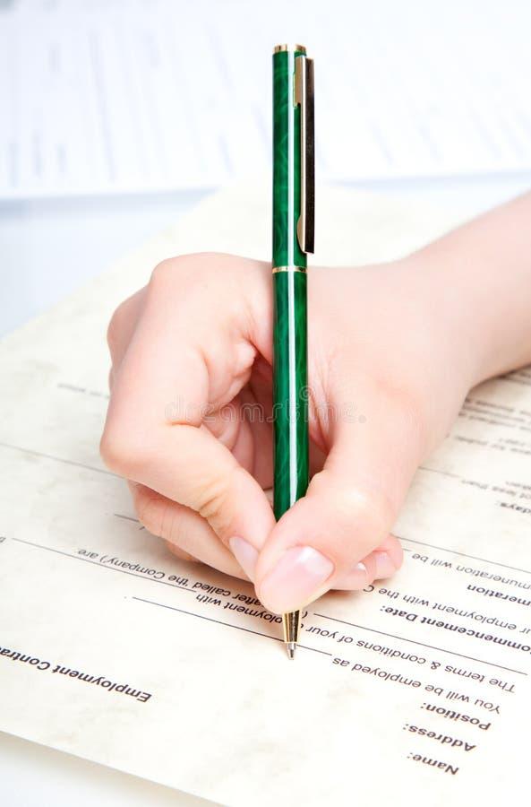 Pen over document royalty-vrije stock foto's