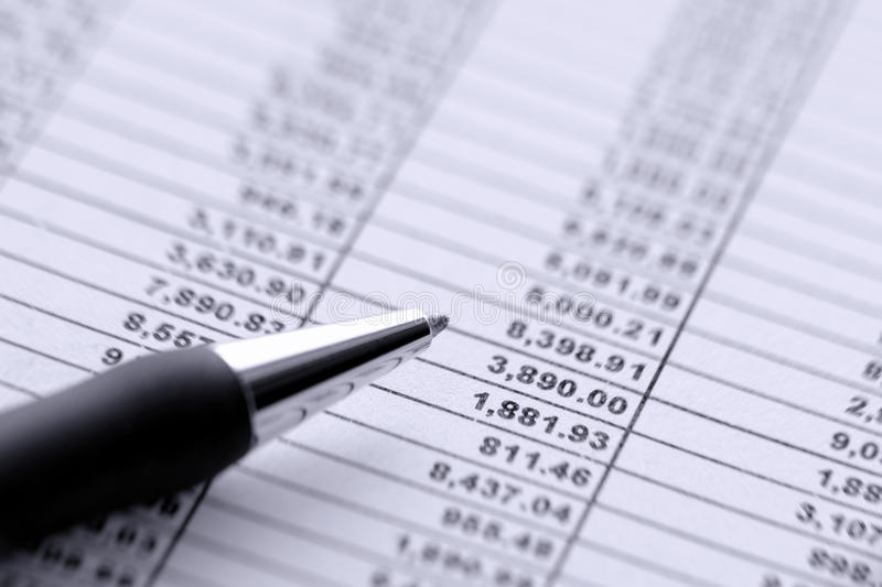 Pen over Dollar Money Budget Financial Spreadsheet stock images