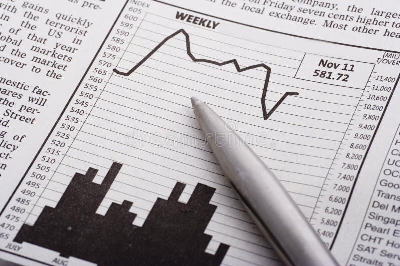 Pen Over Grafiek Royalty-vrije Stock Afbeelding