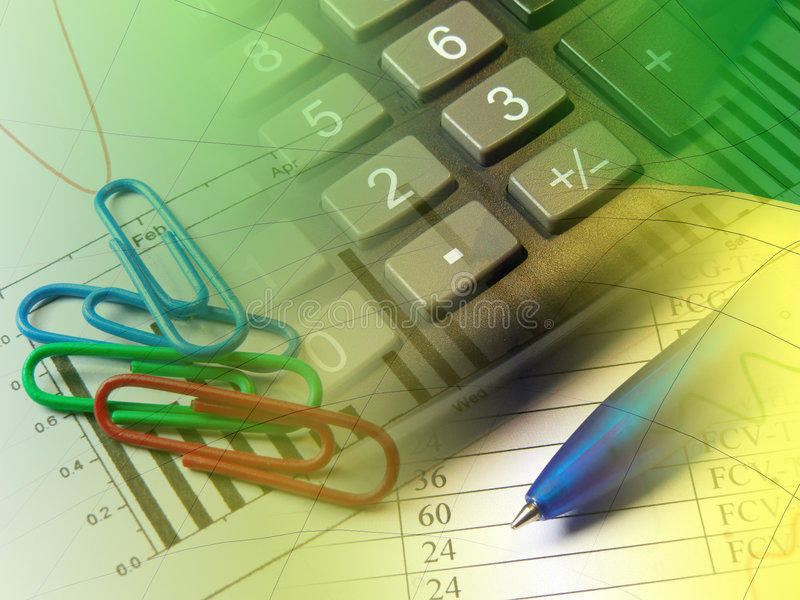 Pen, paper-clips and calculator. Against the table and chart - collage stock image