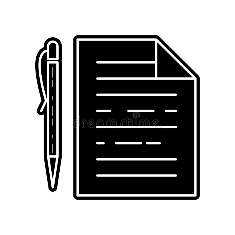 Pen with paper icon. Element of Media tool for mobile concept and web apps icon. Glyph, flat icon for website design and. Development, app development on white royalty free illustration