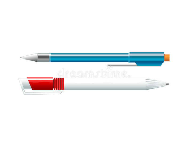 Pen and pencil. Simple drawing supplies (pen & pencil) (AI8 included royalty free illustration
