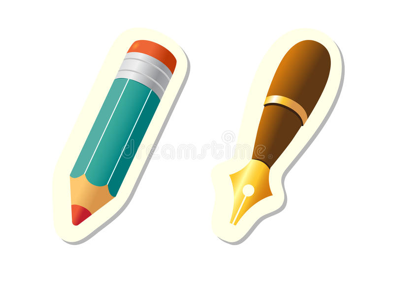 Pen and Pencil Icons royalty free illustration