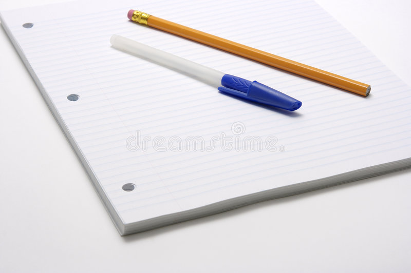 Download Pen And Pencil On Lined Paper Stock Photo - Image of school, back: 2929658