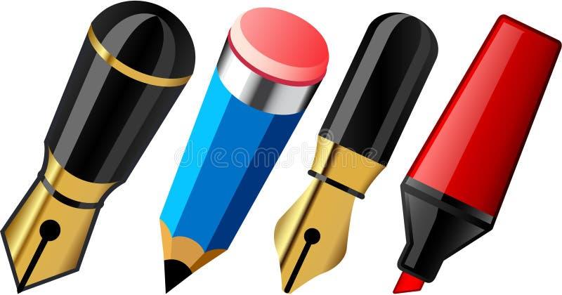 Pen, pencil and marker. vector illustration