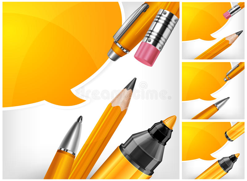 Pen, pencil and marker with speech bubble. On white background, vector illustration royalty free illustration