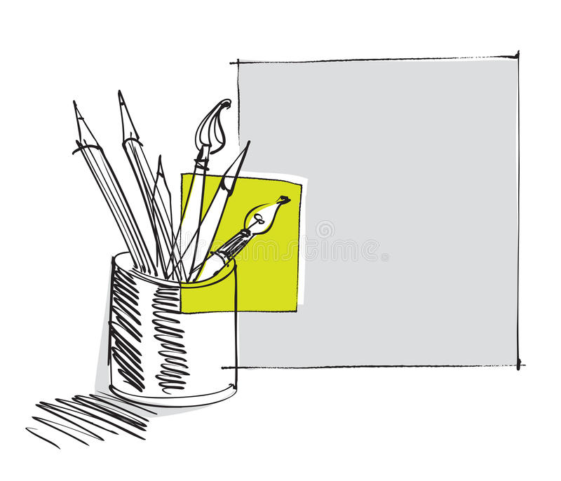 Download Pen And Pencils, Freehand Drawing Stock Photography - Image: 19703562