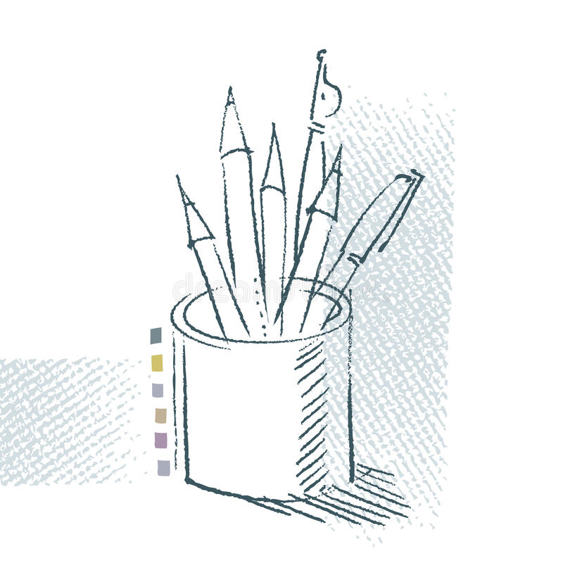 Download Pen And Pencils, Freehand Drawing Stock Image - Image: 19703571