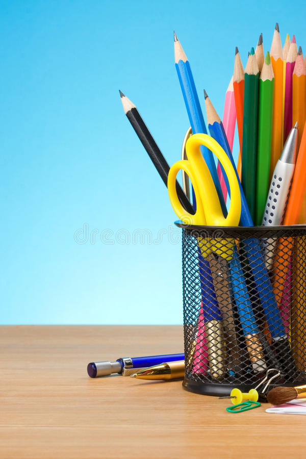 Download Pen and pens in holder stock photo. Image of education - 22862884
