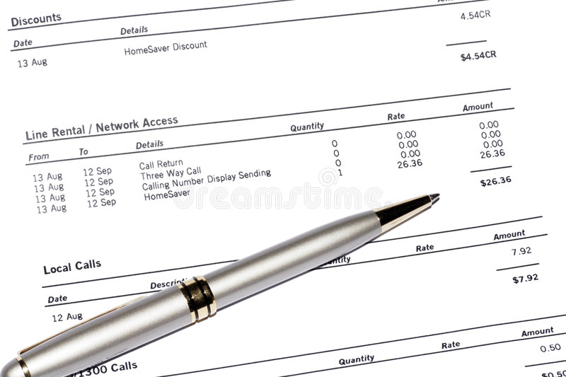 Download Pen On Phone Bill stock image. Image of bill, account - 3091613