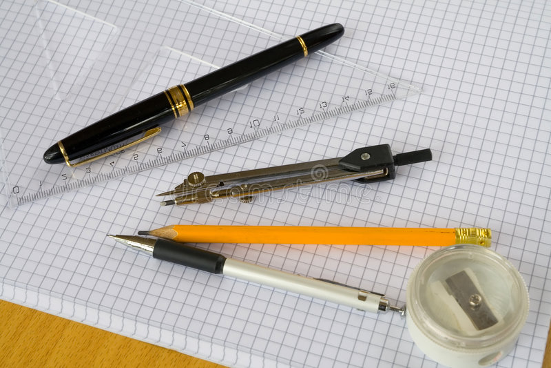 Pen plus drawing needs stock image