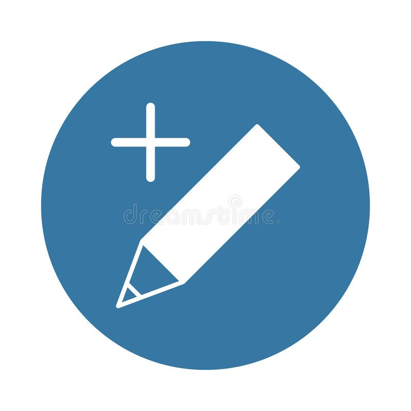 pen plus icon in Badge style royalty free illustration