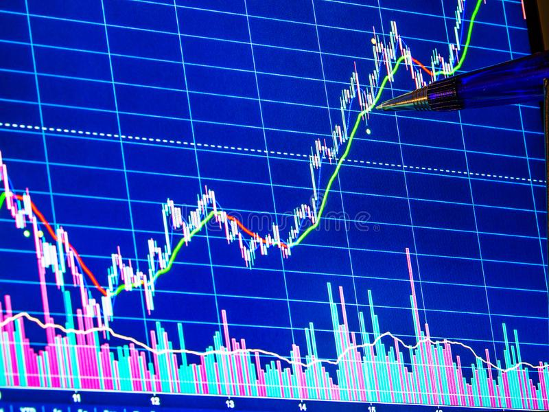 Pen pointing to financial graph. Financial data for technical analysis, closeup royalty free stock images