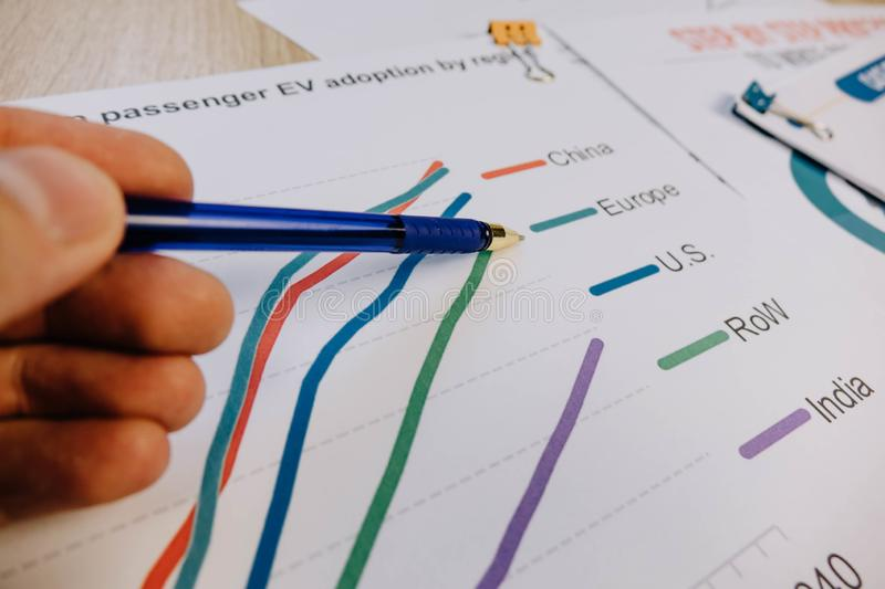 the pen points to the chart layer with the word EUROPE stock image