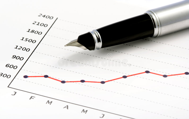 Download Pen On Positive Earning Graph Royalty Free Stock Photos - Image: 970808