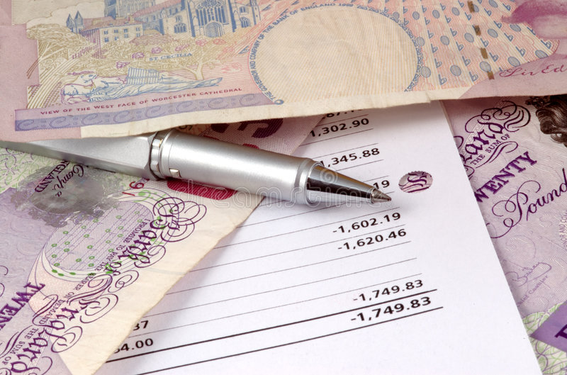 Pen and pounds stock photography