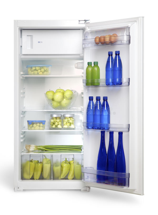 Pen refrigerator with food, drinks, fruits and vegetables royalty free stock photography