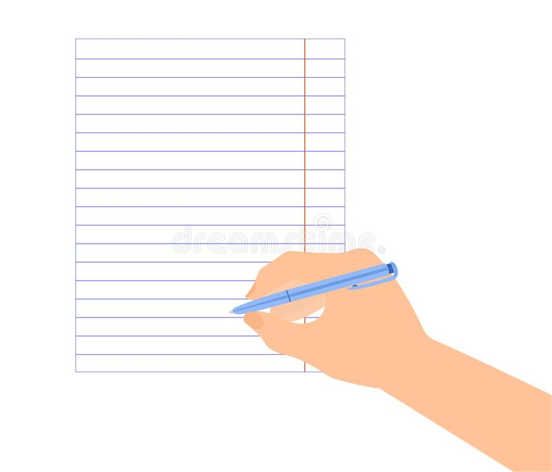 Pen in right hand on lined paper ready to write signature. Pen in right hand on lined paper ready to signature royalty free illustration