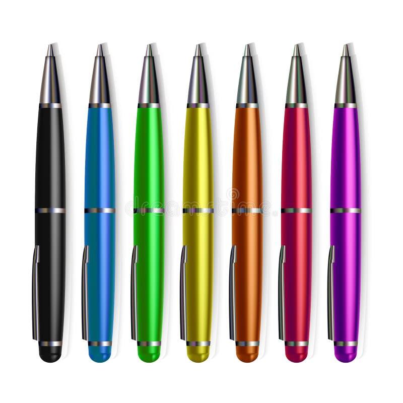 Pen Set Stationery Vector Metallwerkzeug-Zusatz Schreiben, zeichnend Realistische lokalisierte Illustration vektor abbildung