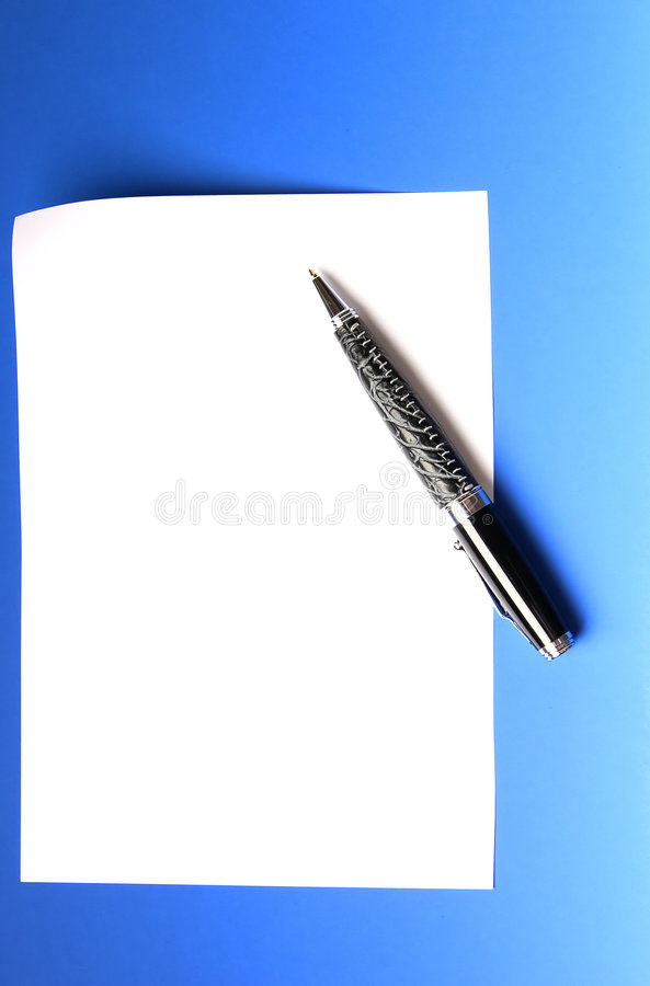 Pen and sheet of white paper royalty free stock photography