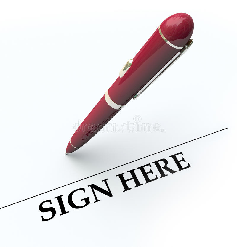 Pen Sign Here Signature Line Contract Agreement. Sign Here line and pen for signing autograph or signature on a contract, agreement or other legal document vector illustration
